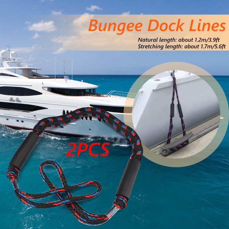 2pcs 4 Feet Boat Dock Lines High-quality Waterproof Marine Kayak Bungee Mooring Docking Ropes Cords Boat Parts Accessories