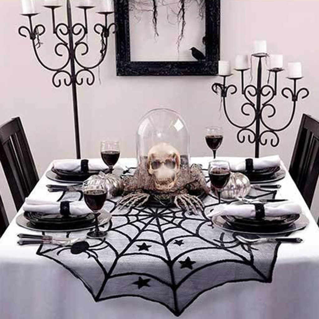 Halloween Spiderweb Tablecloth Scary Lace Bat Spider Party Table Decor Curtain