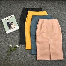 PU Leather Solid Split Skirts Women High Waist Straight Midi Skirts