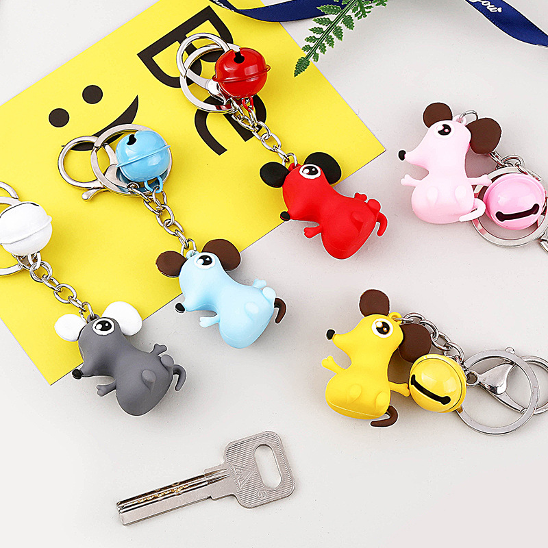 Year Of Rat Animal China Zodiac Pattern Leather Metal Key Chain Ring Car Keychain Gift