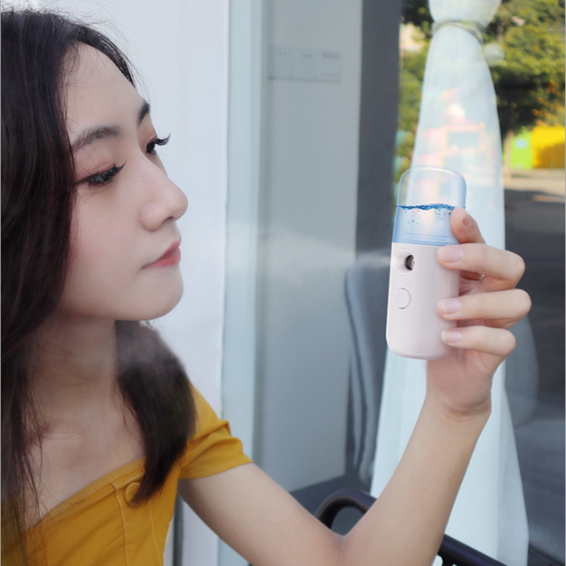 Portátil pequeno umidificador de ar usb recarregável 30 ml handheld medidor de água ultra-sônico carregamento difusor mini leite óleo vapor rosto