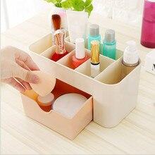Plastic Makeup Organizer Make Up Brush Storage box with Drawer Cotton Swabs Stick case cosmetic organizer