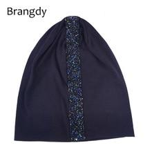 Women Black Slouchy Cotton beanie Hats For Ladies 2019 Fashion Autumn Baggy Rhin