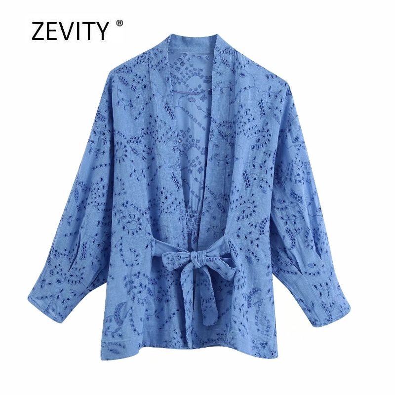 New women vintage hollow out embroidery open stitch casual kimono blouse lady bow sashes shirt chic femininas blusas tops LS6880