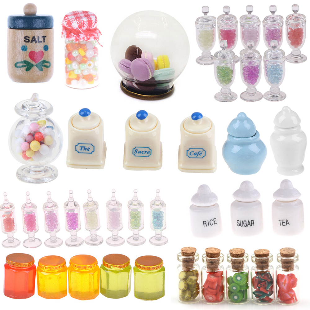 1/2/4/5pcs Display Glass Bottles Jars With Cork Dessert Can Doll House Miniature Kitchen Candy Bar Food Jar Decoration