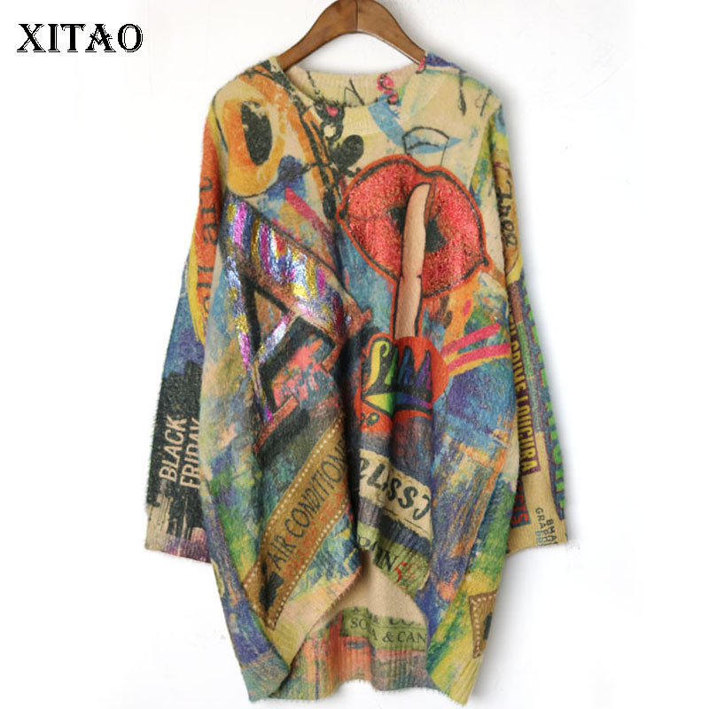 XITAO Knitted Pleated Sweater Women Fashion New 2019 Autumn Elegant Pullover Full Sleeve Irregular Patchwork Sweater WLD3049