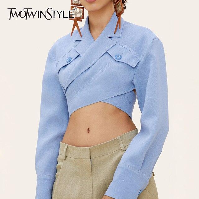 Deuxtwinstyle asymétrique mince femmes Blouses revers col à manches longues décontracté court dessus de chemise femme mode vêtements 2019 nouveau