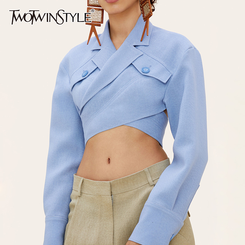TWOTWINSTYLE Asymmetrical Slim Women's Blouses Lapel Collar Long Sleeve Casual Short Shirts Tops Female Fashion Clothes 2020 New