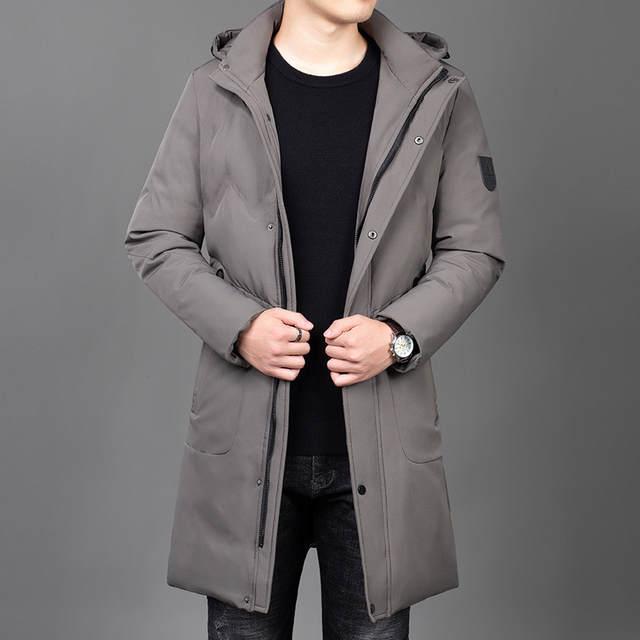 2019 zimowe grube modne markowe kurtki męskie długie w