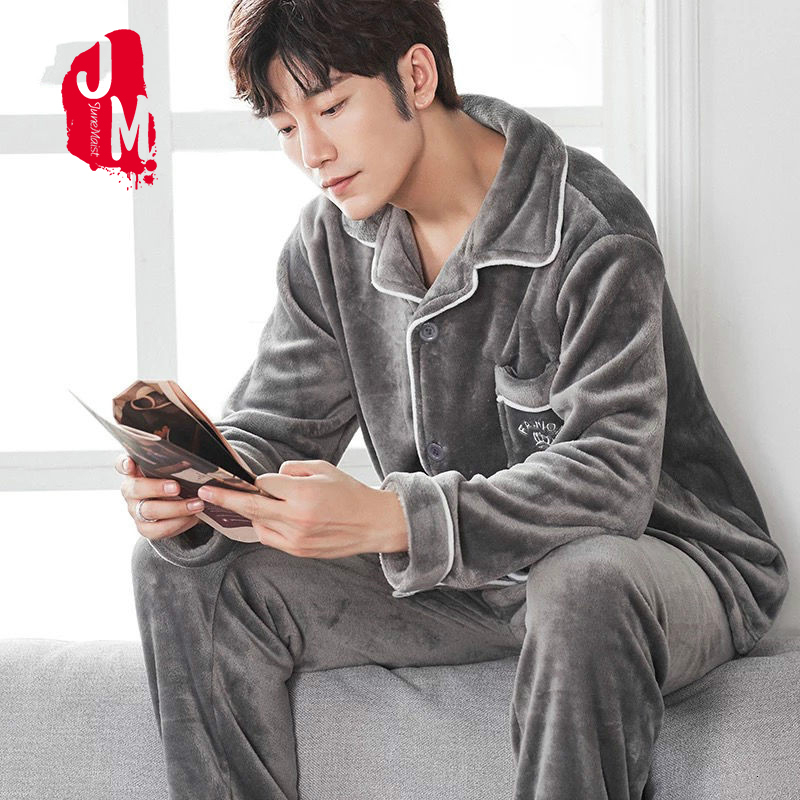 Men Pajamas Winter Flannel Pajama Set Plus Size 3XL Coral Fleece Casual Thick Homewear Warm Sleepwear Boys Pijama Mujer