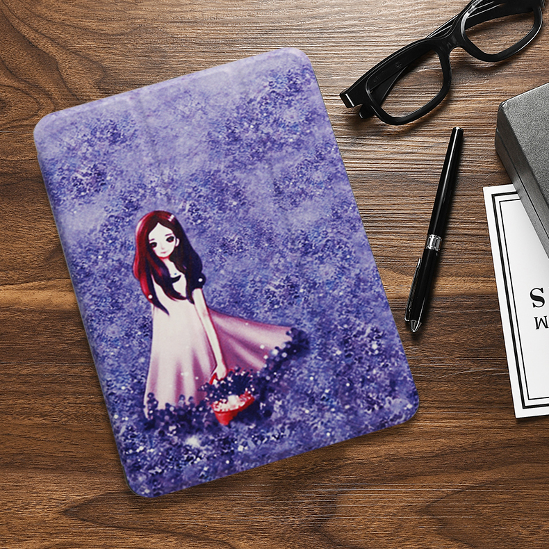 Lavender girl Yellow Case For iPad 10 2 inch 2020 Flip Trifold Stand Case PU Leather Full Smart Auto