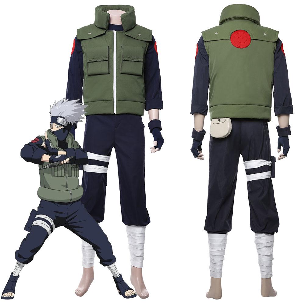 Anime Naruto Hatake Kakashi Hokage Vest Waistcoat Green NINJA Cosplay Costume
