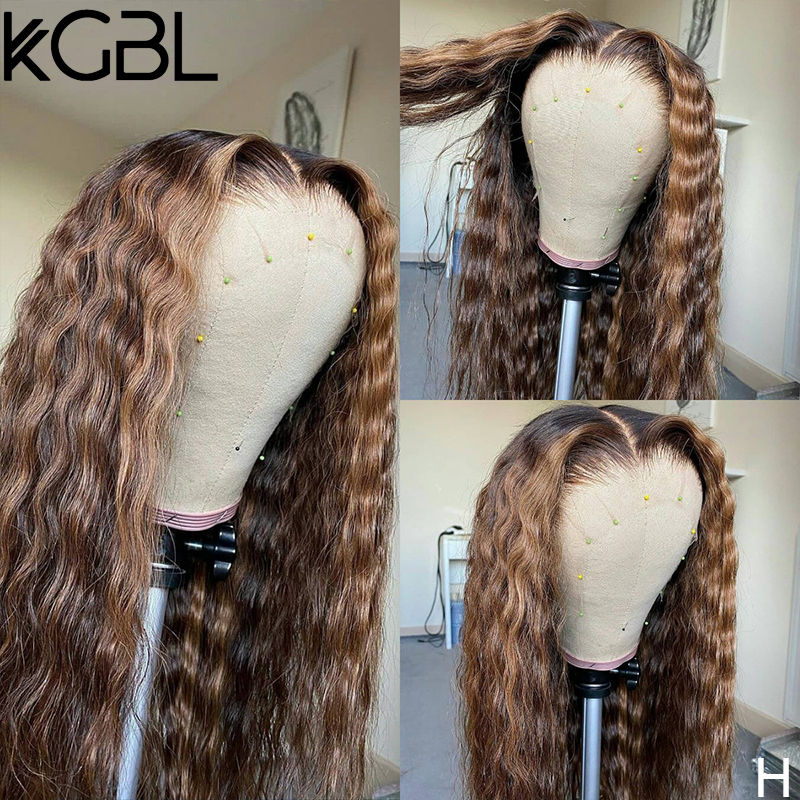KGBL Curly Highlight 13x4 Lace Front Human Hair Wigs 180% Density Non-Remy For Women Brazilian 8-24'' Pre-Plucked Medium Ratio