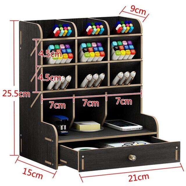 13 rejillas de madera multifunción soporte de escritorio almacenamiento pincel cosmético caja para lápiz cosmético cepillo Estante de presentación de joyería