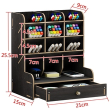 Multi Function Wood 13 Grids Desktop Stand Holder Cosmetic Brush Storage Box for Pencil Pen Cosmetic Brush Jewelry Display Rack