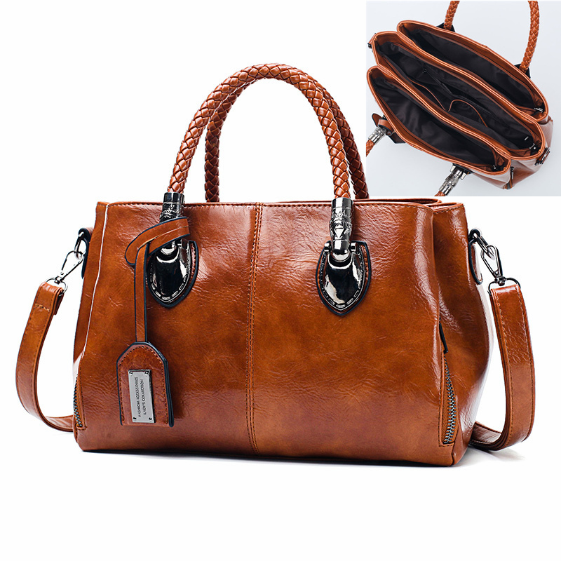 Women Oil Wax Leather Designer Handbags Crossbody Bag New Brand Casual Big Totes High Quality Leather Ladies Hobo Messenger Bags