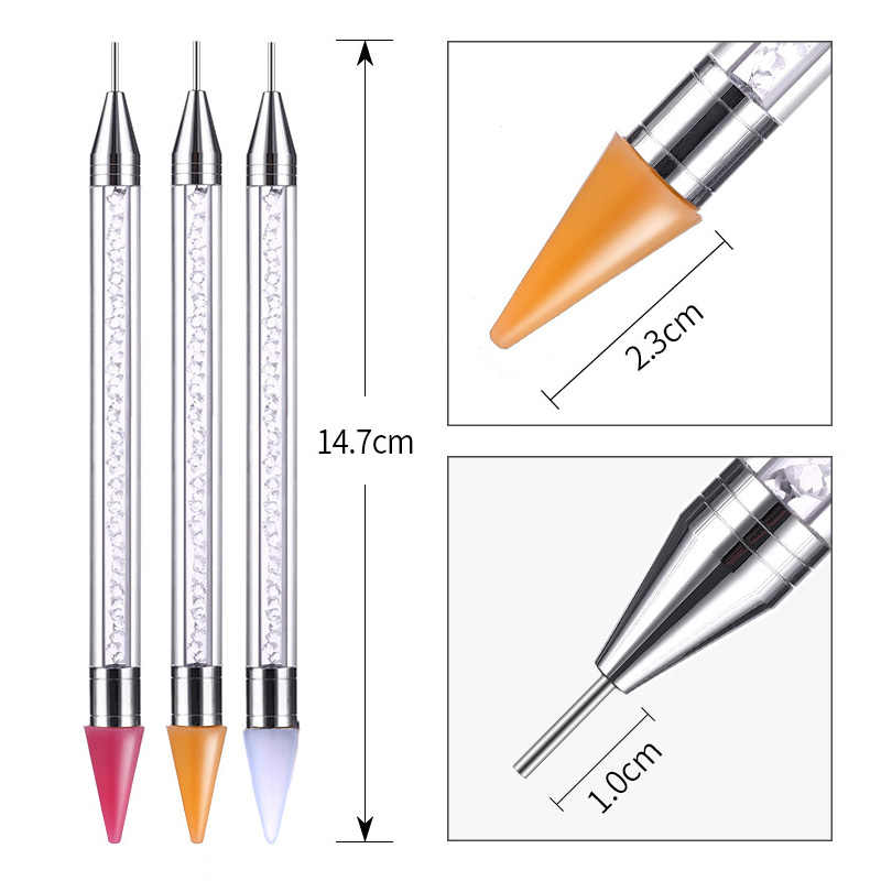 New Dual End Silicone Nail Art Dotting Pen Rhinestone Pencil Crystal Decorations Tip Pick Design Manicure Tool 2 Way Without Wax
