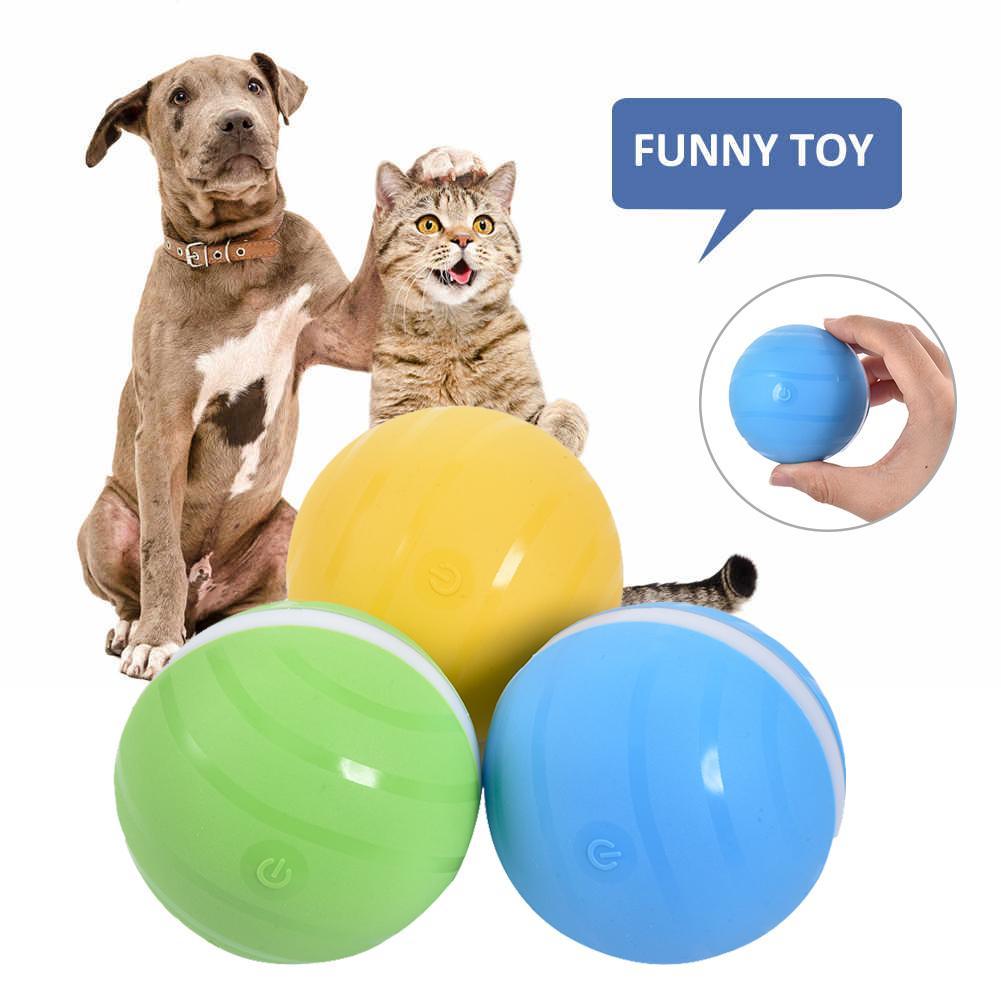 Bola de salto ativo brinquedo do cão usb elétrica pet bola led rolamento flash elástico bola gato rolo automático divertido brinquedo interativo à prova dwaterproof água