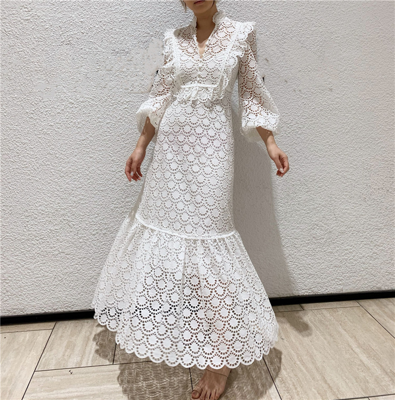 Runway Designer WOmen Lace Dress 2019 Vintage Stand Collar Royal Hollow Out White Lace maxi Dress Holiday Vacation Dress image