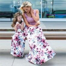 Летние платья без рукавов для мамы и дочки; Модное Длинное Платье