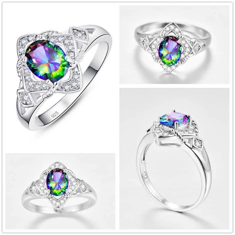 Lingmei Новое модное прекрасное обручальные кольца разноцветные циркоовые Серебро 925 Кольцо Размеры 6 7 8 9 элегантный Винтаж, ювелирные изделия в качестве подарка