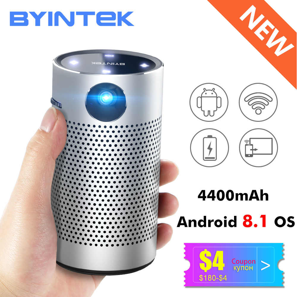 BYINTEK P7 cep taşınabilir Pico akıllı Android WIFI 1080p Video HD lazer LED DLP Mini projektör 4K Beamer için 3D Full HD sinema