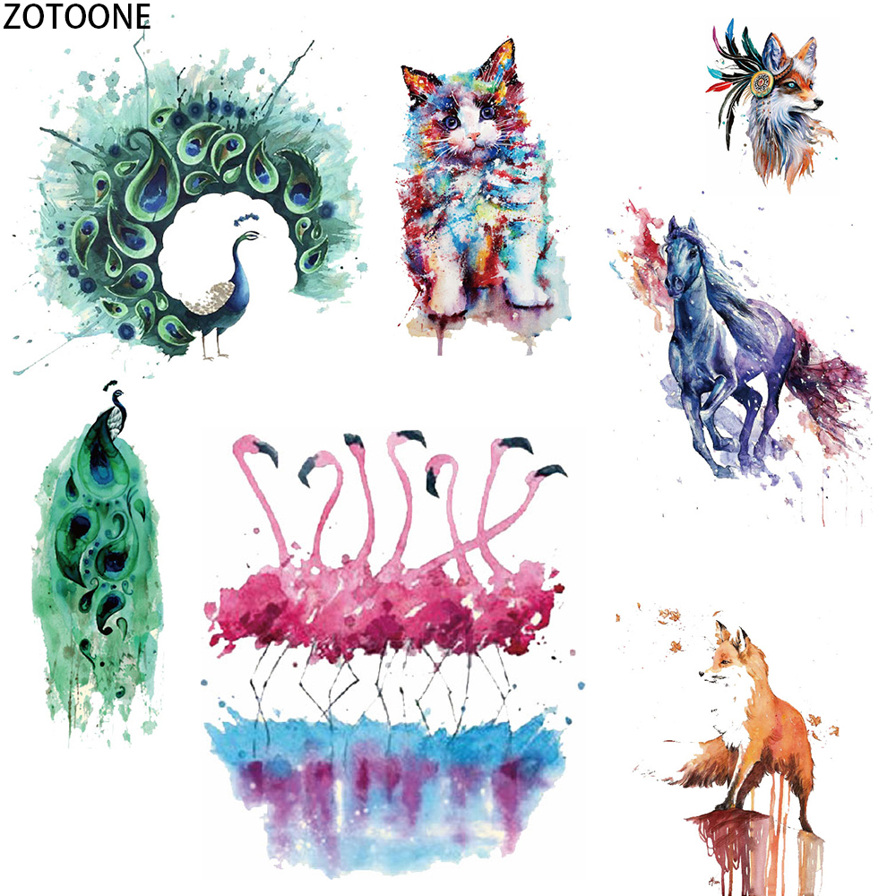 ZOTOONE Ink Painting Animals Iron on Transfer Stripe Stickers Clothes DIY Heat Appliques Washable Application Thermo