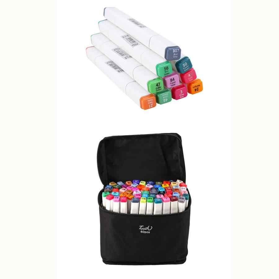 60 สีสารพันเครื่องดื่มแอลกอฮอล์ Graphic ชุดปากกา Marker Dual หัวภาพเคลื่อนไหวภาพวาดการออกแบบศิลปะปากกาชุดสำหรับระบายสี (3 มม.-6 มม.)