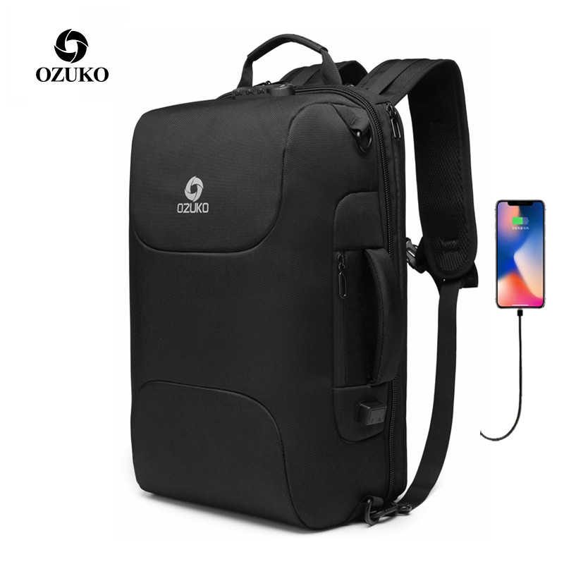 OZUKO Knapsack Men Multifunction Backpack Men Casual 15.6 Inch Laptop Bags Male USB Charging Backpacks Business Travel Mochila