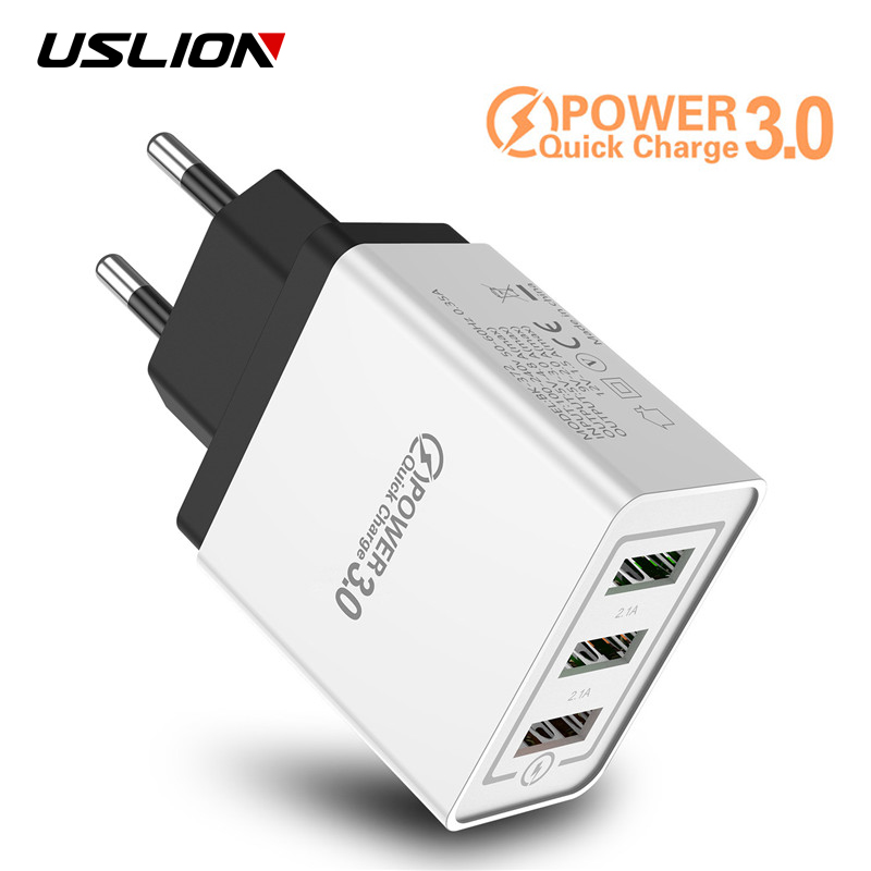 USLION 3 Ports USB Charger Quick charge 3.0 for iPhone X S 8 7 6 EU&US Plug Fast Wall Charger Charging For Samsung Xiaomi Huawei image