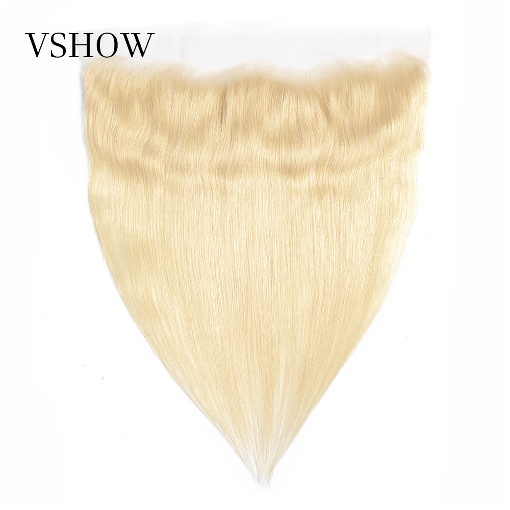 VSHOW 613 Frontal Closure Ear To Ear With Baby Hair Pre Plucked 13x4 Lace Frontal Brazilian Remy Straight Human Hair image
