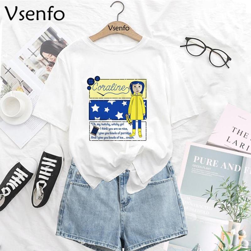 Best Promo C3677 Harajuku Coraline T Shirt Women Girls Cartoon T Shirt 90s Summer Funny Tshirt Korean Style Top Tees Female T Shirt Large Size Cicig Co