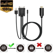 1080P HDMI to VGA Adapter (Male to Male) Video Converter Support Convert Signal from HDMI Input Laptop HDTV to VGA Output Monito цена
