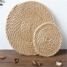 Rattan Round Table Mat Straw Cup Coaster Place mat Wicker Drink Coaster Kitchen Tool Heat Insulation Dining Table Pad Pot Holder