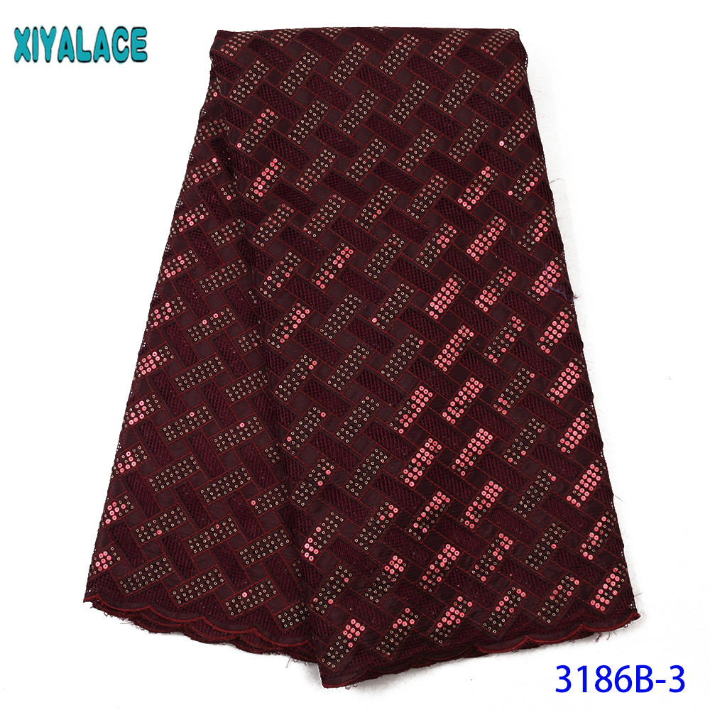 African Swiss Voile Lace Fabric Pure Cotton Design 2020 Latest Dry Lace Embroiderywith Sequins KS3186B
