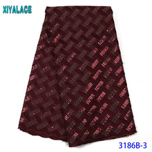 Lace-Fabric Sequins Embroiderywith African Swiss Latest KS3186B Voile Dry Pure-Cotton-Design