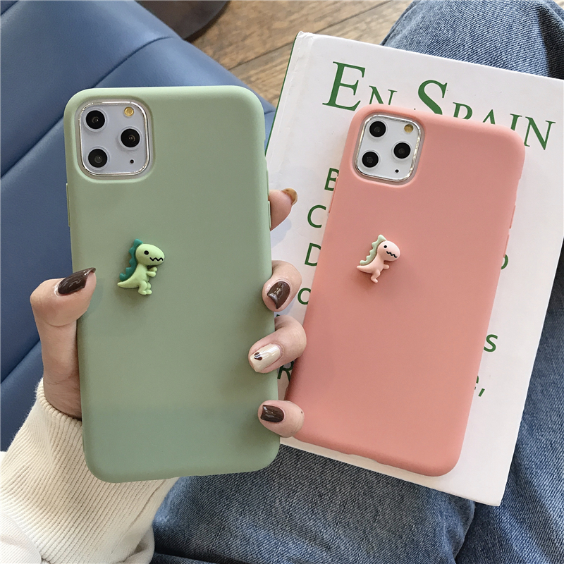 Cute 3D Cartoon <font><b>Dinosaur</b></font> Elephant Cat Mouse Claw Soft Silicone <font><b>Case</b></font> For <font><b>iPhone</b></font> 11 Pro X XR Xs Max 6 6s <font><b>7</b></font> 8 Plus Candy Plain Capa image