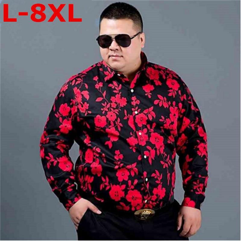 Plus size 8XL 9XL Men  new Promotion Autumn Long Sleeve Casual Cotton Flower Shirts for Men Designer Slim Fit Dress Shirts
