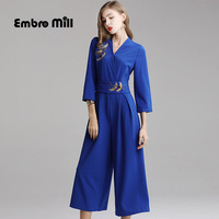 New style autumn Women jumpsuits Chinese style V Neck Retro embroidery Crane high waist loose pants plus size S 2XL