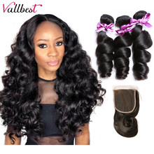 Vallbest Loose Wave Bundles With Closure Human Hair 3 Bundles With Lace Closure 4X4 Free Part Natural Black Remy Hair Extension(China)