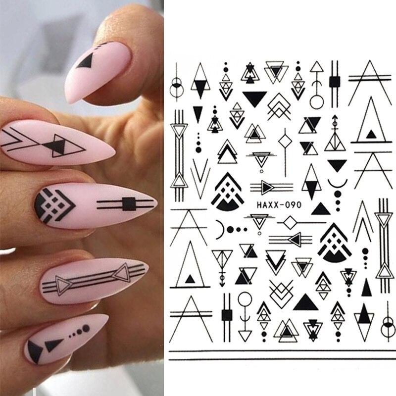 1 шт. 3D наклейка для ногтей, Смешанные Цветочные геометрические наклейки для дизайна ногтей, наклейки для цветов, украшение для маникюра