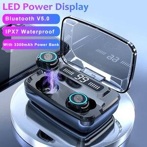 Image 1 - M11 TWS Bluetooth V5.0 Điều Khiển Cảm Ứng Thể Thao Tai Nghe Không Dây Tai Nghe Có Micro 3300 MAh Power Bank Cho Điện Thoại