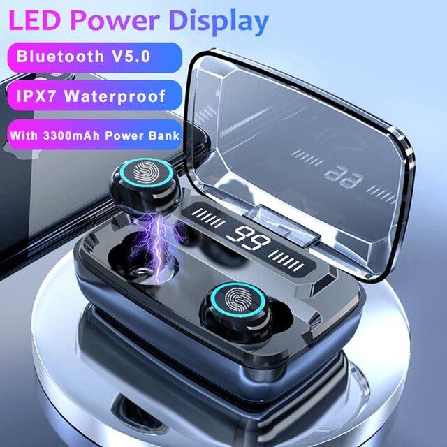 M11 TWS Bluetooth V5.0 Điều Khiển Cảm Ứng Thể Thao Tai Nghe Không Dây Tai Nghe Có Micro 3300 MAh Power Bank Cho Điện Thoại