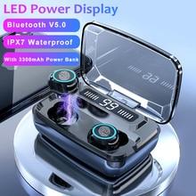 M11 TWS 블루투스 이어폰 V5.0 터치 컨트롤 스포츠 무선 헤드폰 헤드셋 마이크 3300mAh 전원 은행 전화 번호