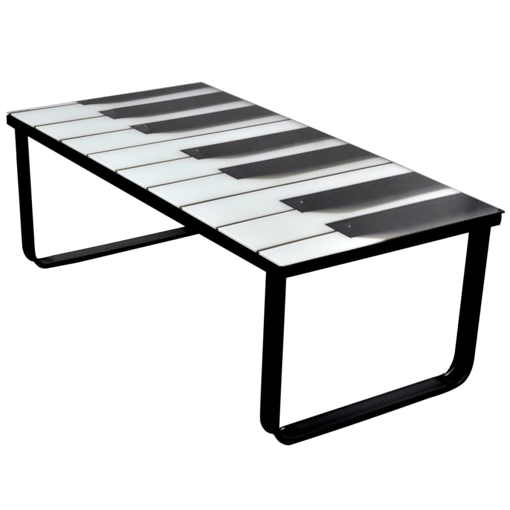VidaXL Coffee Table With Piano Printing Glass Top