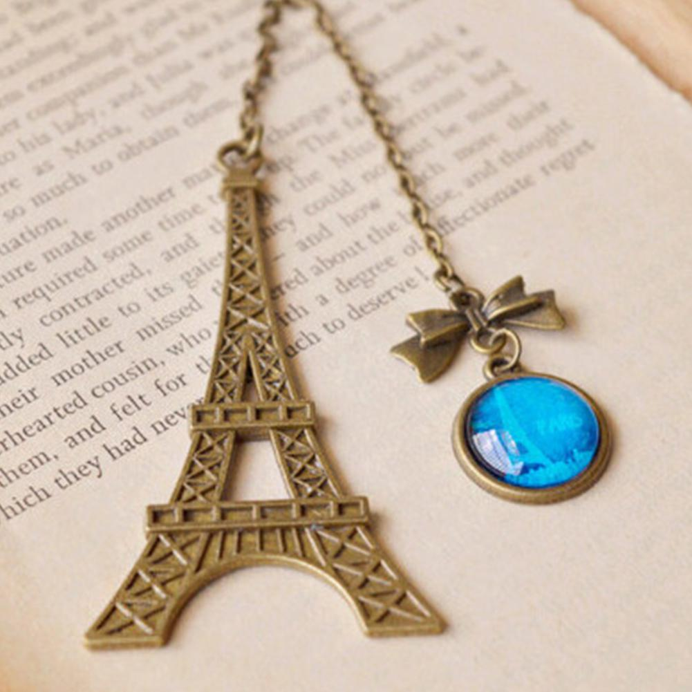 Retro Metal Bookmark Novelty Eiffel Tower Bowknot Pendant Reading Stationery Gift
