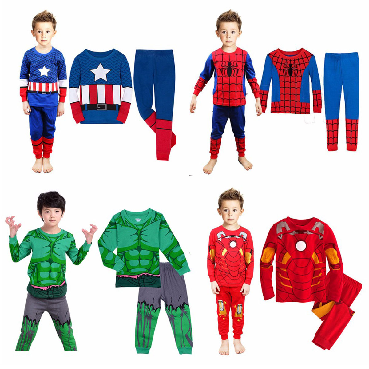 Kid Boy Superhero Hulk Captain Spiderman Pajamas Set Children Avengers Ironman Cartoon Sleepwear Child Cosplay Halloween Costume