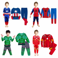 kid Boy Superhero Hulk Captain Spiderman Pajamas Set Childre