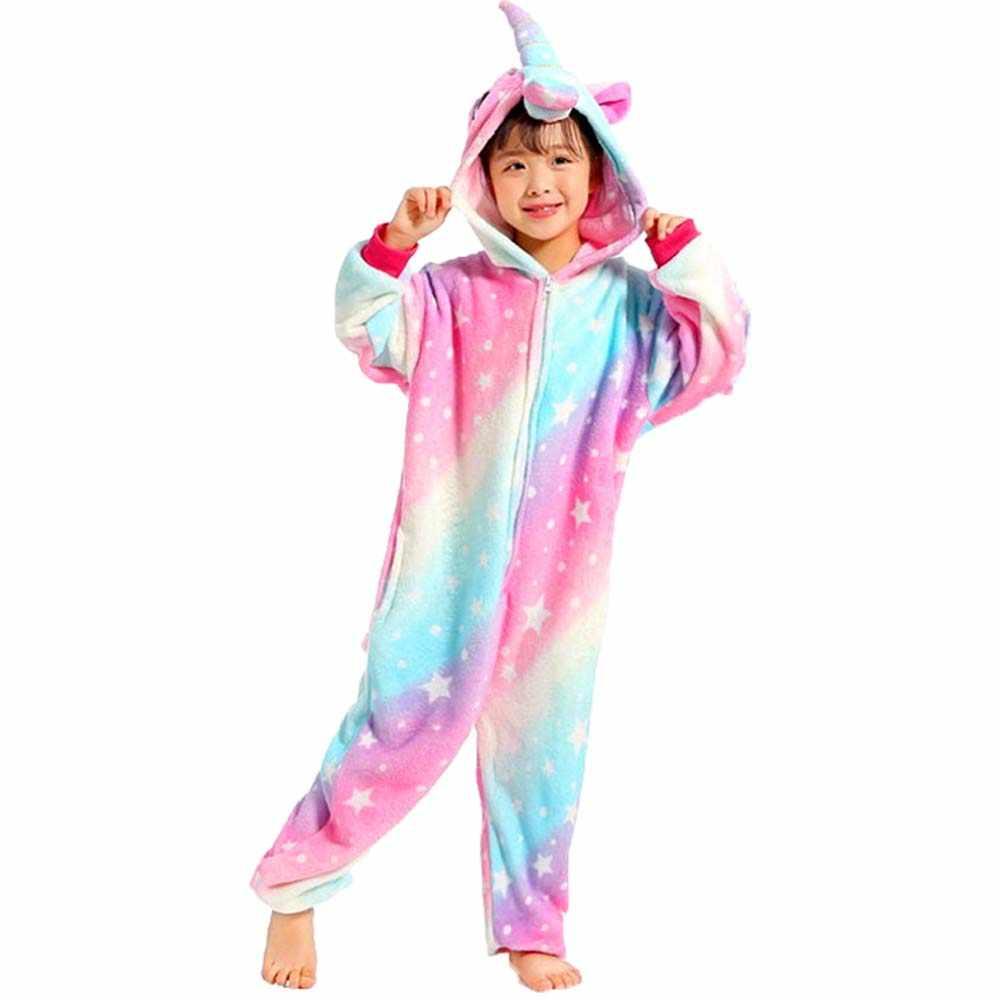 תפר Unicorn פנדה טייגר חזיר Totoro זברה בעלי החיים Onesies ילדים חמוד Cartoon פיג 'מה בנות בני פלנל הלבשת תינוק סרבל