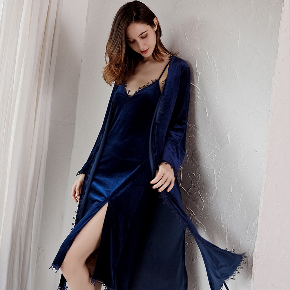 2019 Autumn and Winter Pajamas for Women Gold Velvet Pajamas Korean Sexy Nightdress Nightgown Trousers Four Sets of Home Clothes